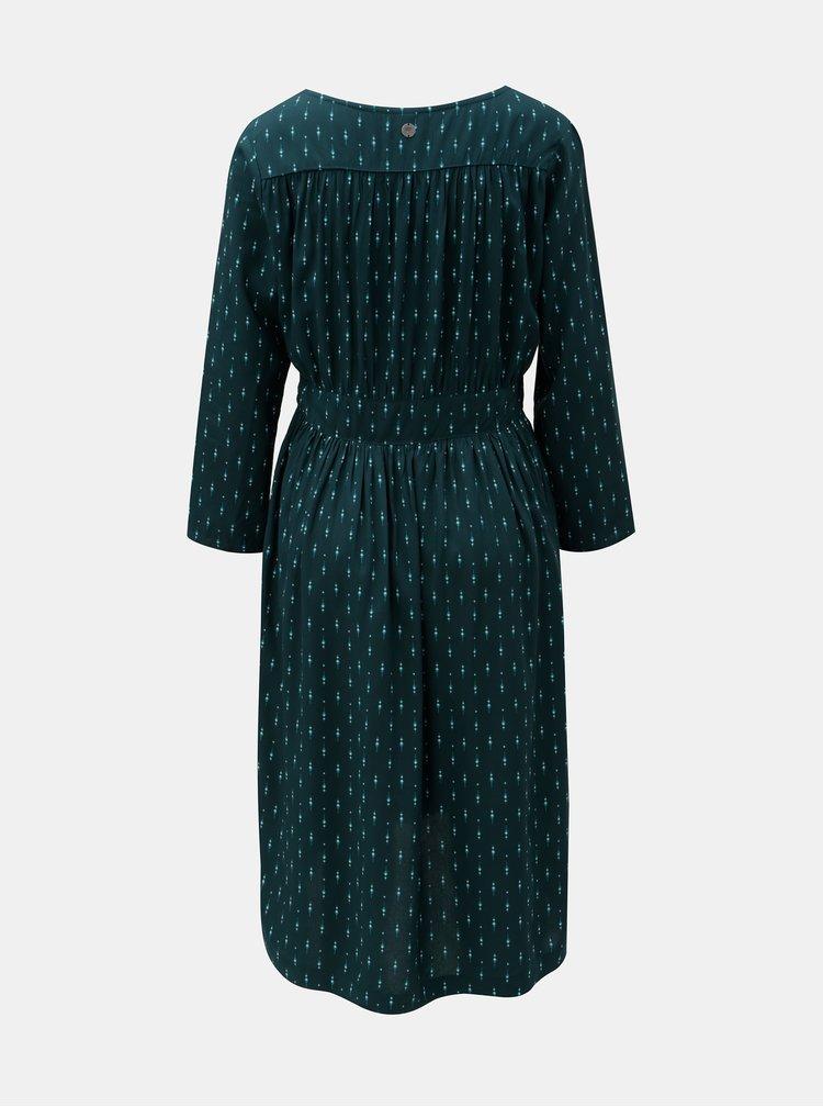 Rochie verde inchis cu model si spate mai lung Tranquillo Aradia