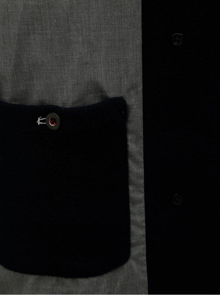 Pardesiu albastru inchis cu amestec de lana Jack & Jones Hector