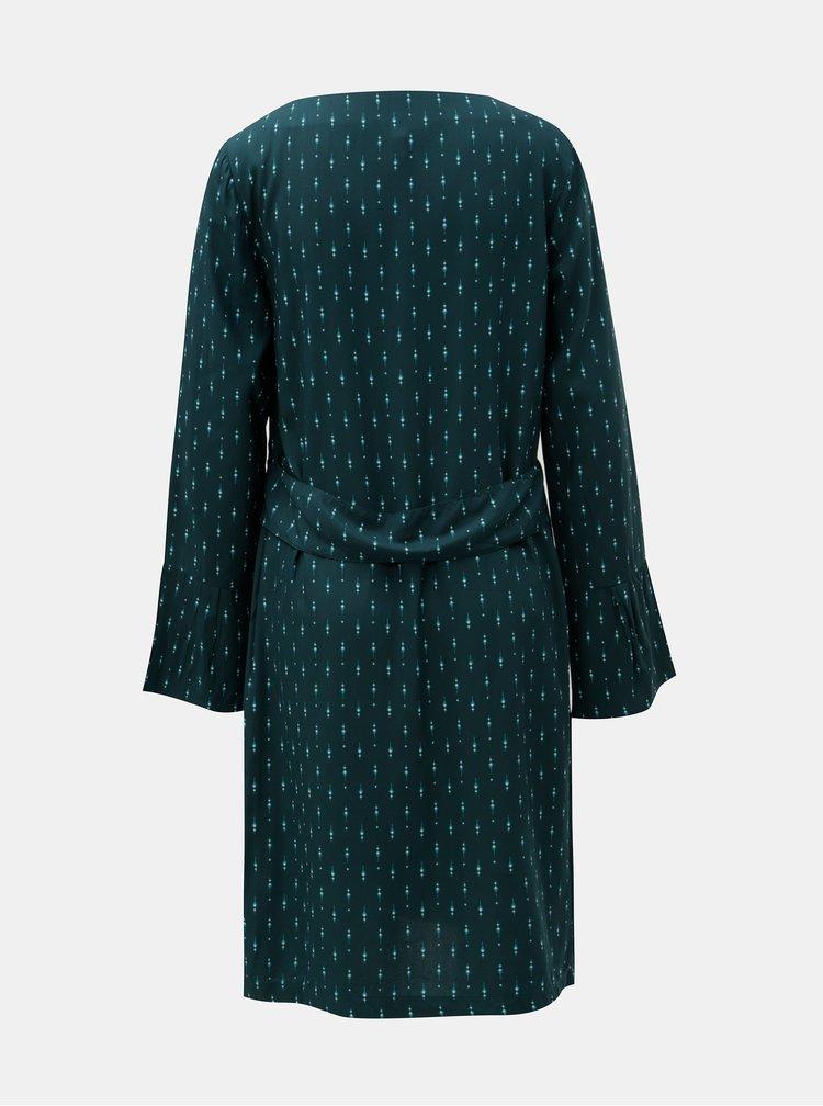 Tmavě zelené vzorované šaty se zvonovým rukávem Tranquillo Terra