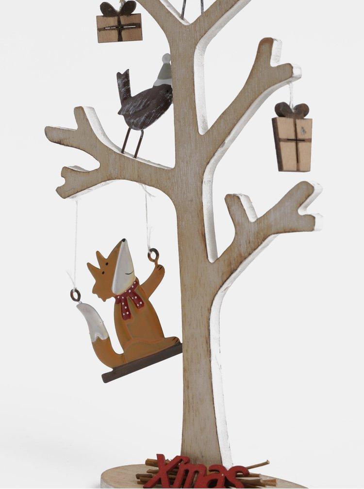 Hnědá dřevěná dekorace ve tvaru stromu Dakls