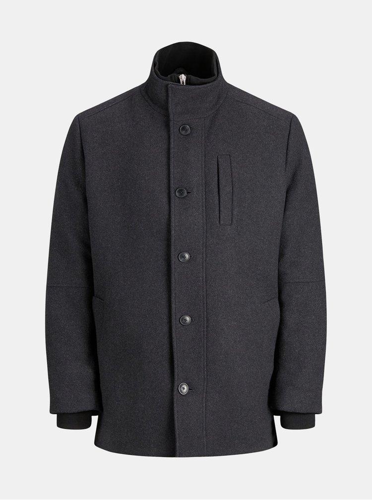Tmavě šedý zimní kabát s příměsí vlny Jack & Jones Duane