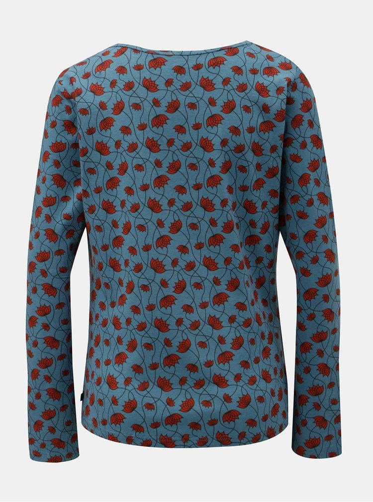 Modré vzorované tričko s řasením ve výstřihu Tranquillo Ersa