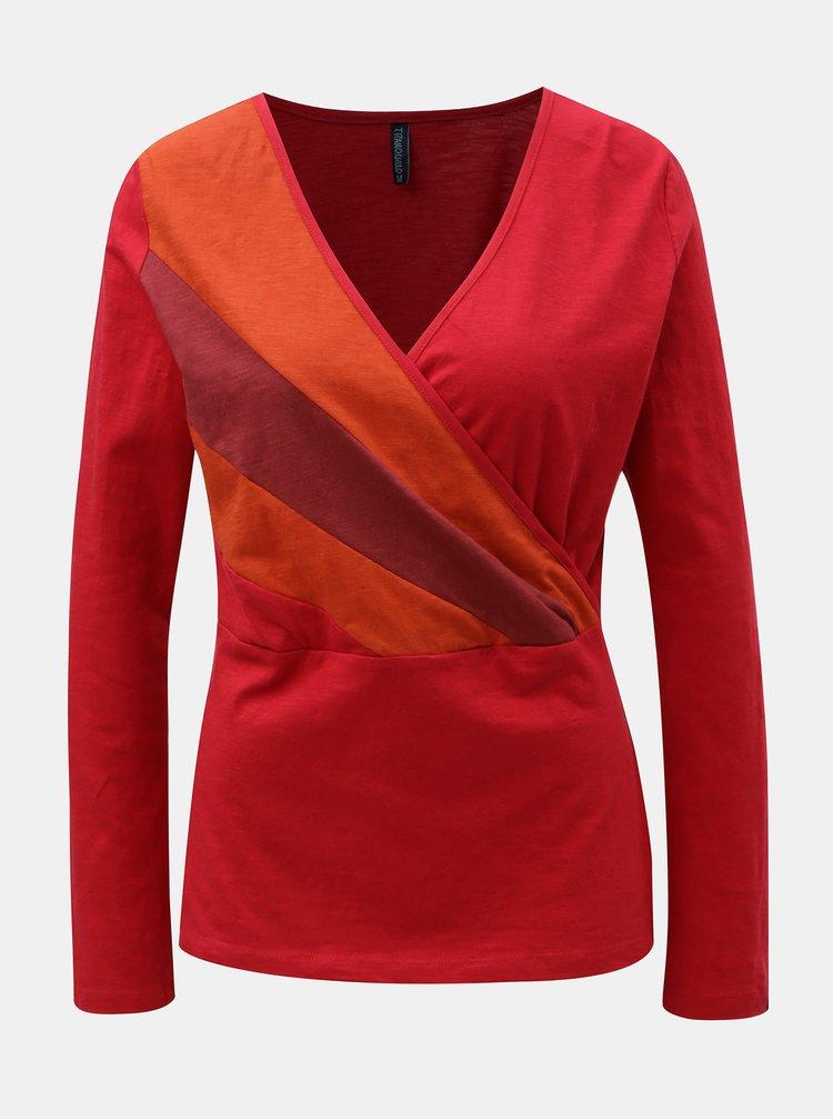 Červené tričko s prekladaným výstrihom Tranquillo Marei