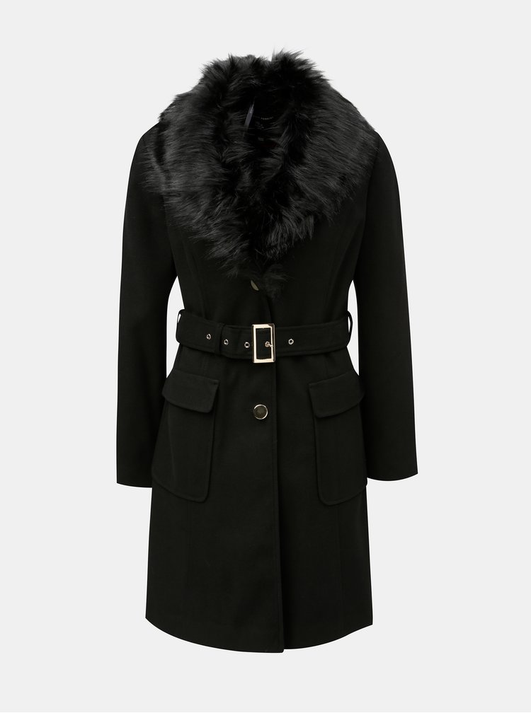 Černý manšestrový kabát s odnímatelným umělým kožíškem Dorothy Perkins