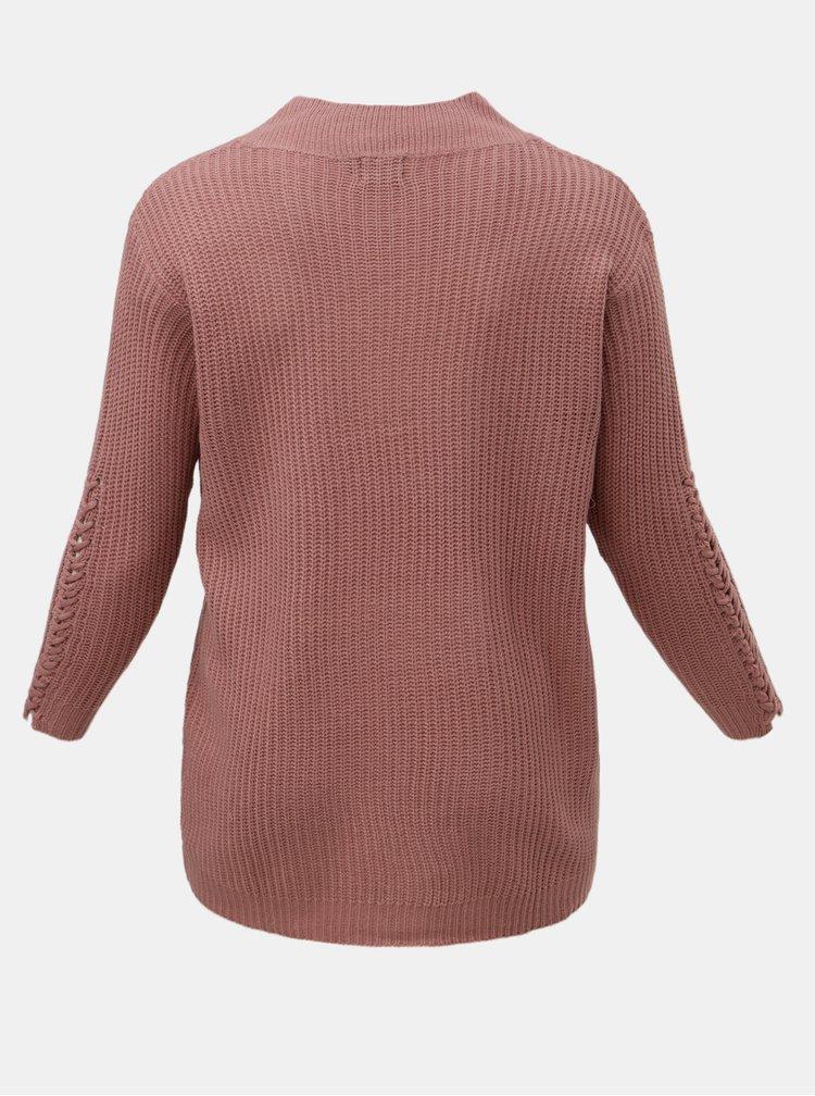 Růžový volný svetr Zizzi