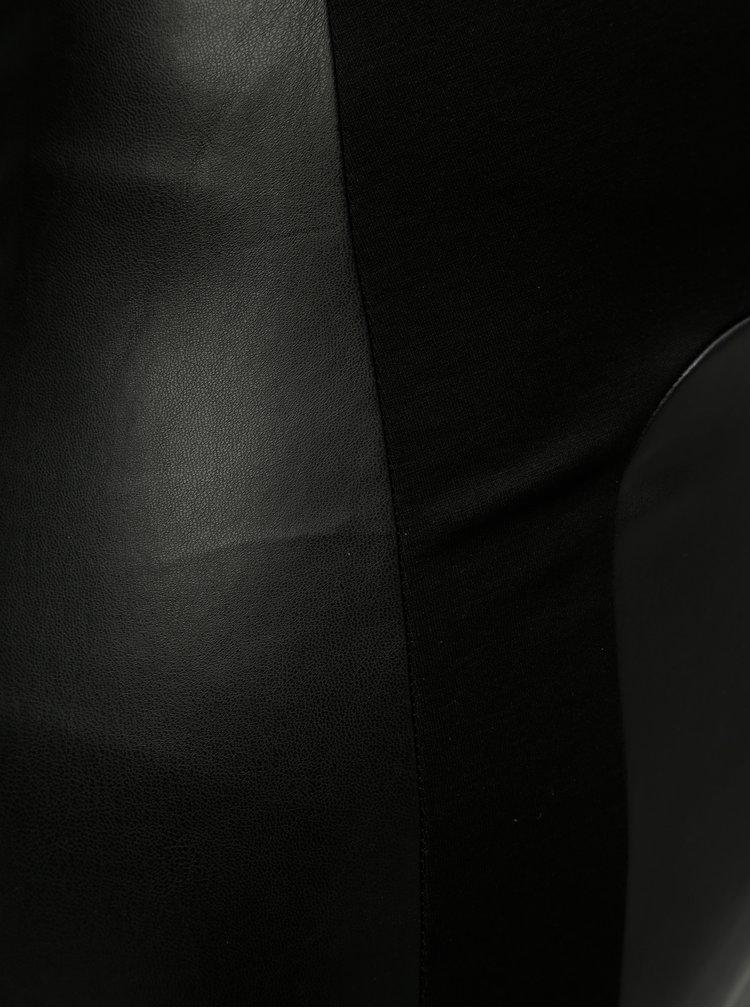 Leggings negri din piele sintetica Zizzi