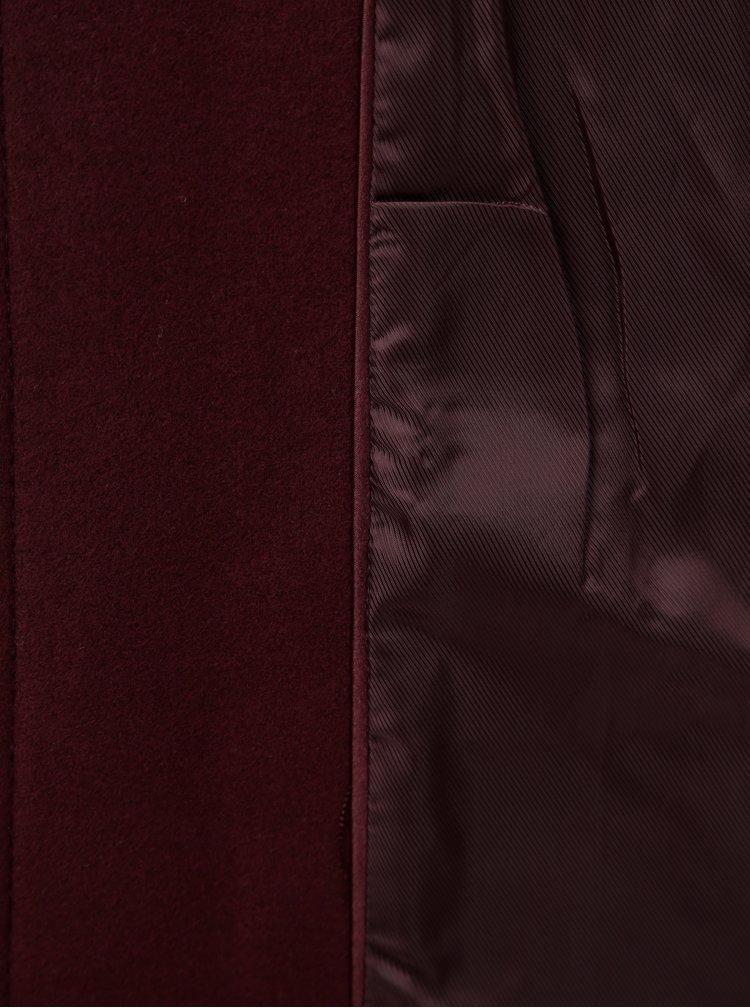 Vínový kabát s odnímatelným umělým kožíškem Dorothy Perkins