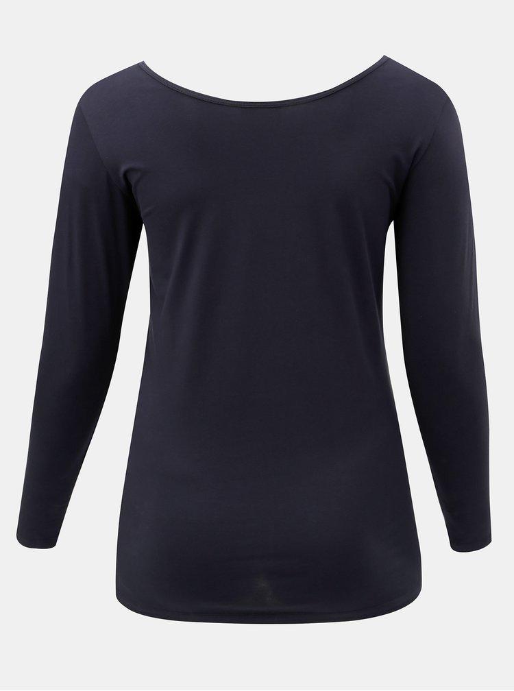 Modré basic tričko s dlouhým rukávem Zizzi