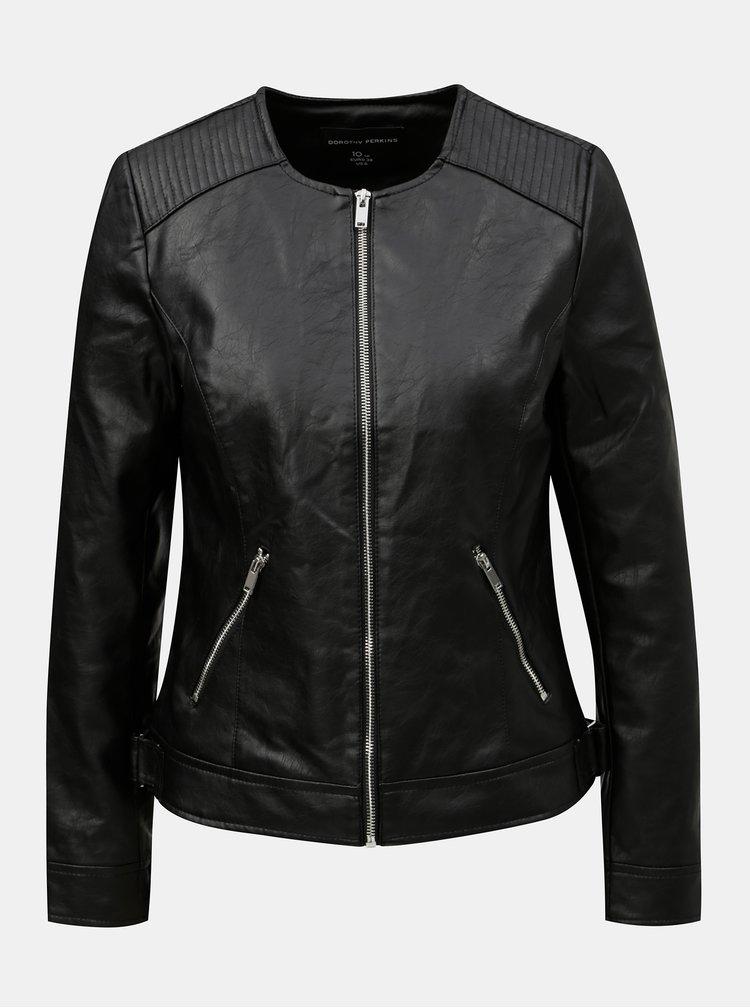 Jacheta neagra din piele sintetica Dorothy Perkins