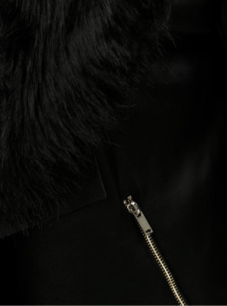 Černá koženková bunda s odnímatelným umělým kožíškem Dorothy Perkins
