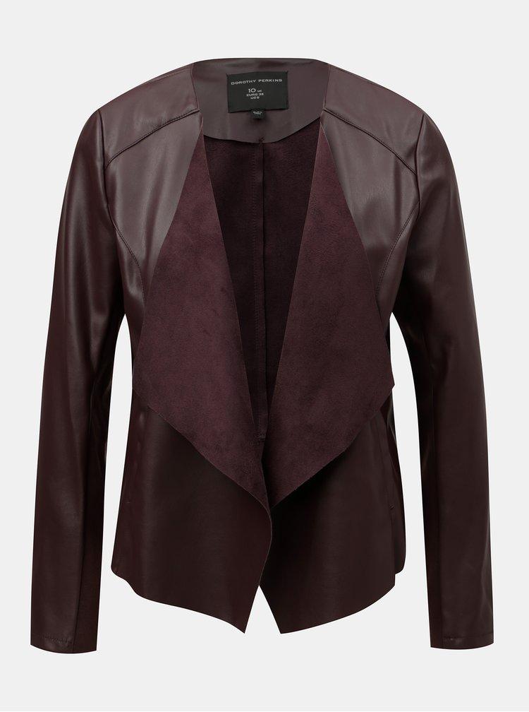 Jacheta bordo din piele sintetica Dorothy Perkins