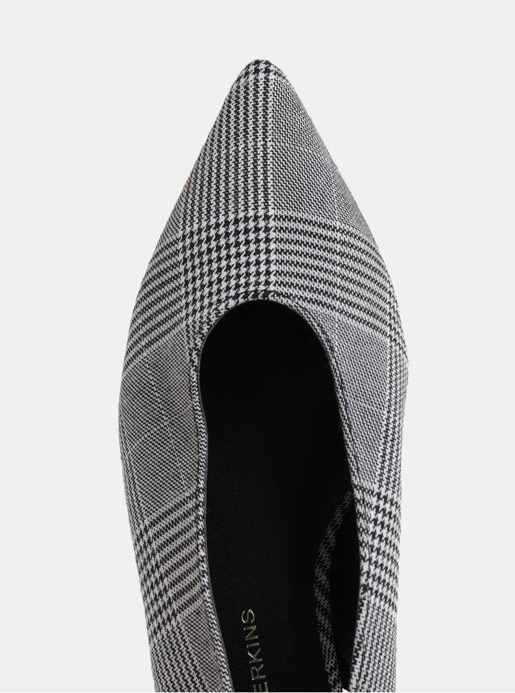 Sivé kockované baleríny s otvorenou pätou Dorothy Perkins Phantom