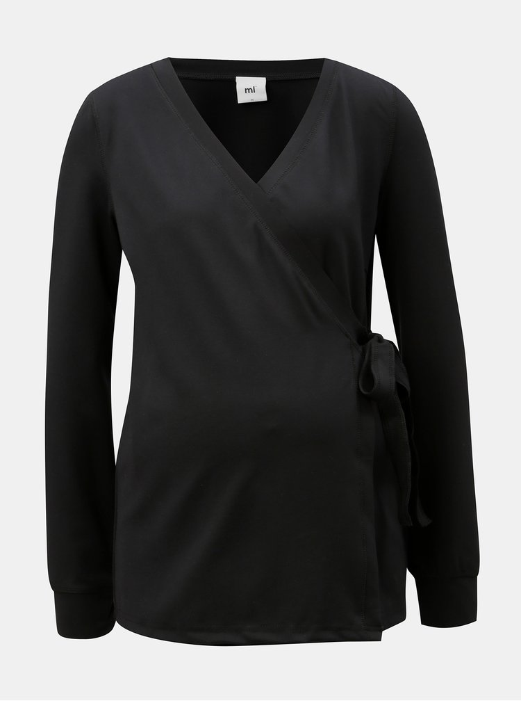 Černý zavinovací těhotenský/kojicí top Mama.licious Kaja