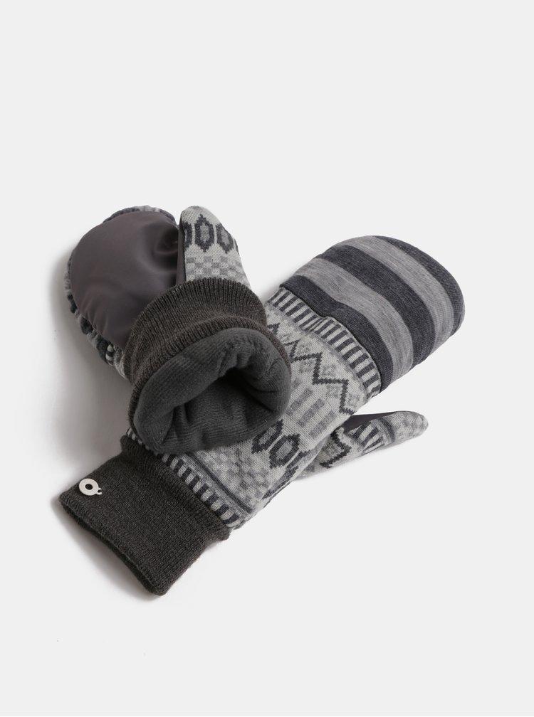 Šedé vzorované vlněné rukavice Kari Traa Åkle Mitten