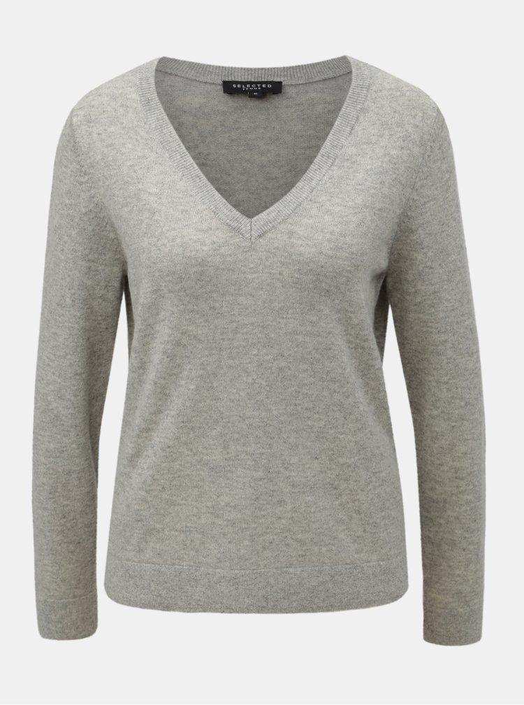 Šedý žíhaný kašmírový svetr Selected Femme Faya