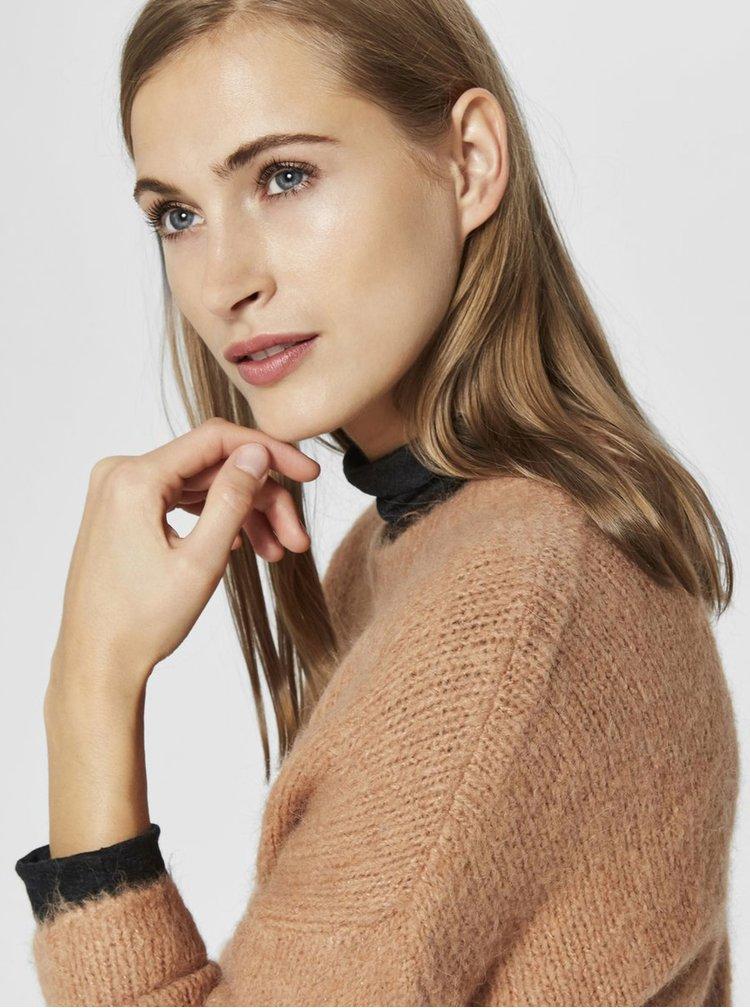 Hnědý svetr s příměsí vlny Selected Femme Regina