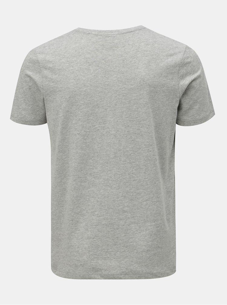 Šedé žíhané tričko s krátkým rukávem Jack & Jones Omake