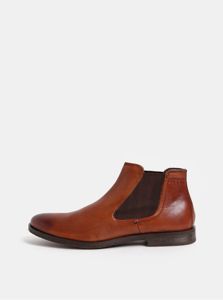 Hnědé pánské kožené chelsea boty bugatti Abramo