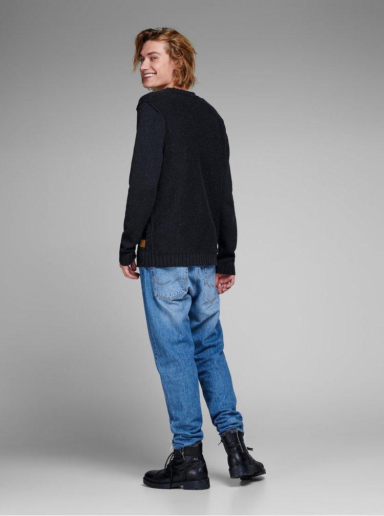 Tmavě modrý svetr s příměsí vlny Jack & Jones Johonson