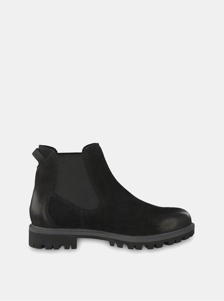 Čierne semišové chelsea topánky Tamaris