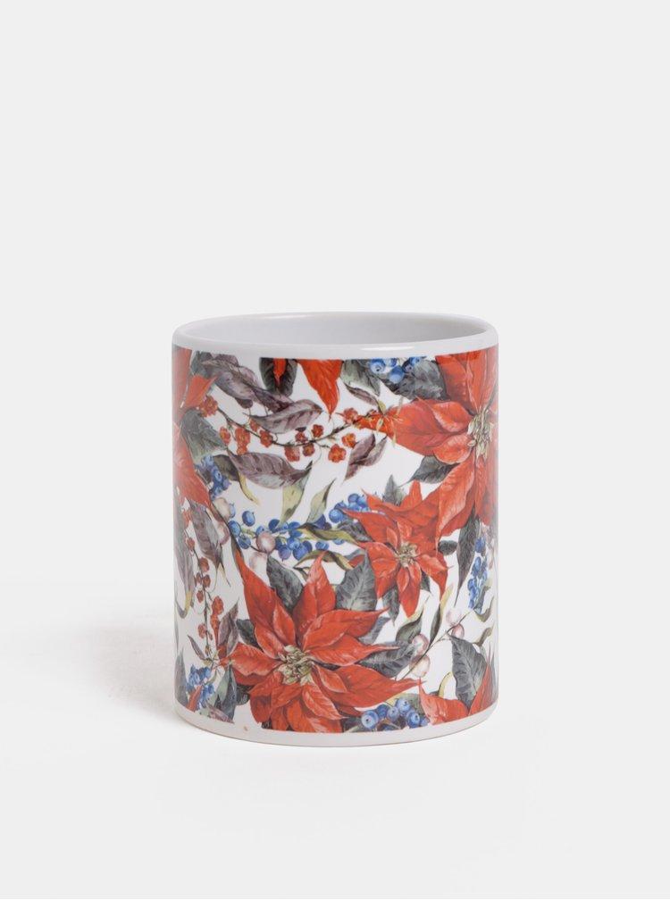 Červeno-bílý hrnek s motivem květin Butter Kings