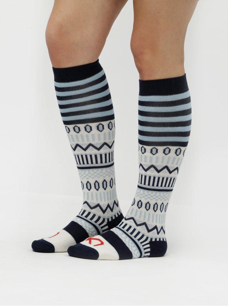 Sosete sub genunchi alb-albastru din lana cu model Kari Traa Åkle Sock