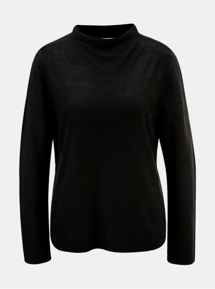 Pulover negru cu striatii si guler inalt Jacqueline de Yong