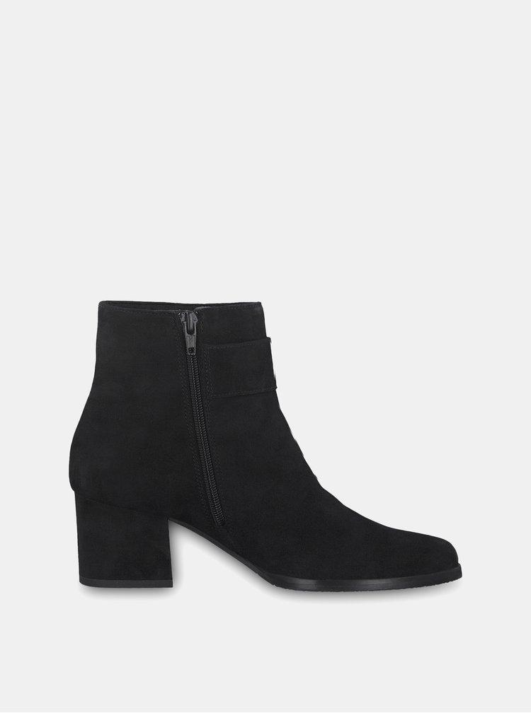 Černé semišové kotníkové boty na podpatku s ozdobnou přezkou Tamaris