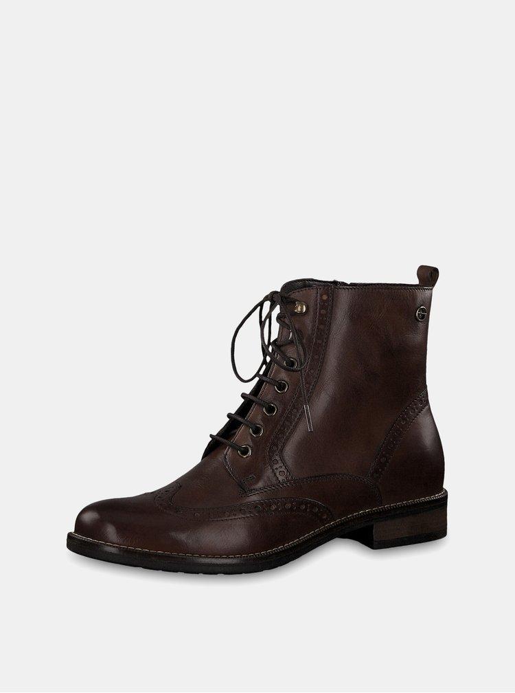 Tmavě hnědé kožené brogue kotníkové boty Tamaris