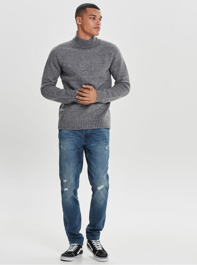 Šedý žíhaný svetr s rolákem ONLY & SONS Patrick
