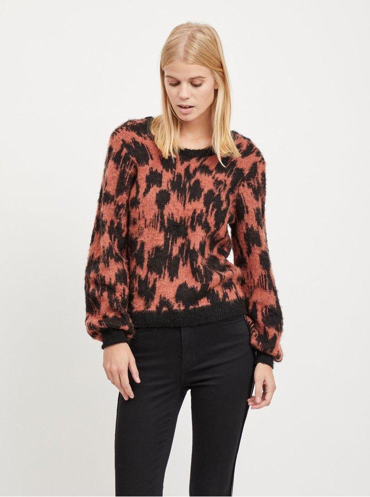 Čierno–tehlový vzorovaný sveter s prímesou vlny VILA Baini