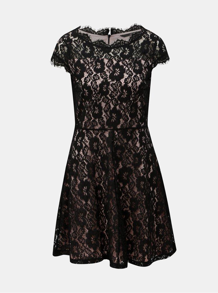 Růžovo-černé krajkové šaty s krátkým rukávem VERO MODA Jackie