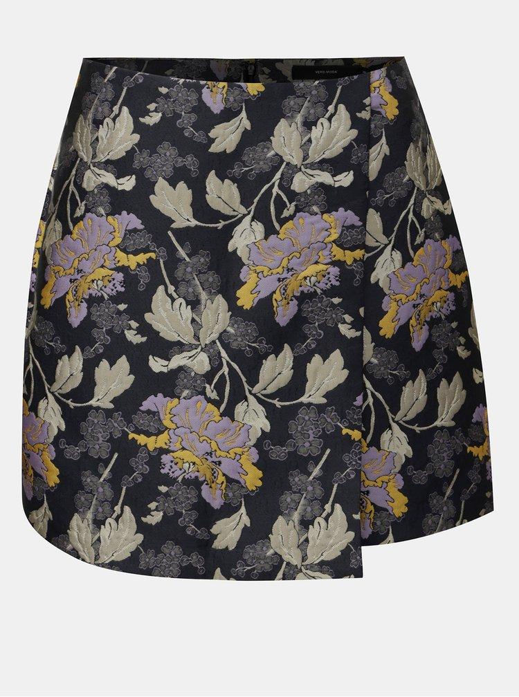Tmavě modrá květovaná rovná sukně VERO MODA Freya
