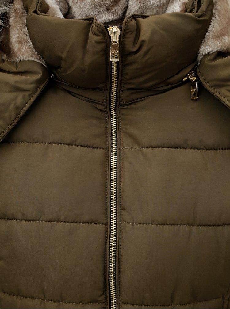 Khaki zimní prošívaná bunda s umělým kožíškem ONLY Vigga