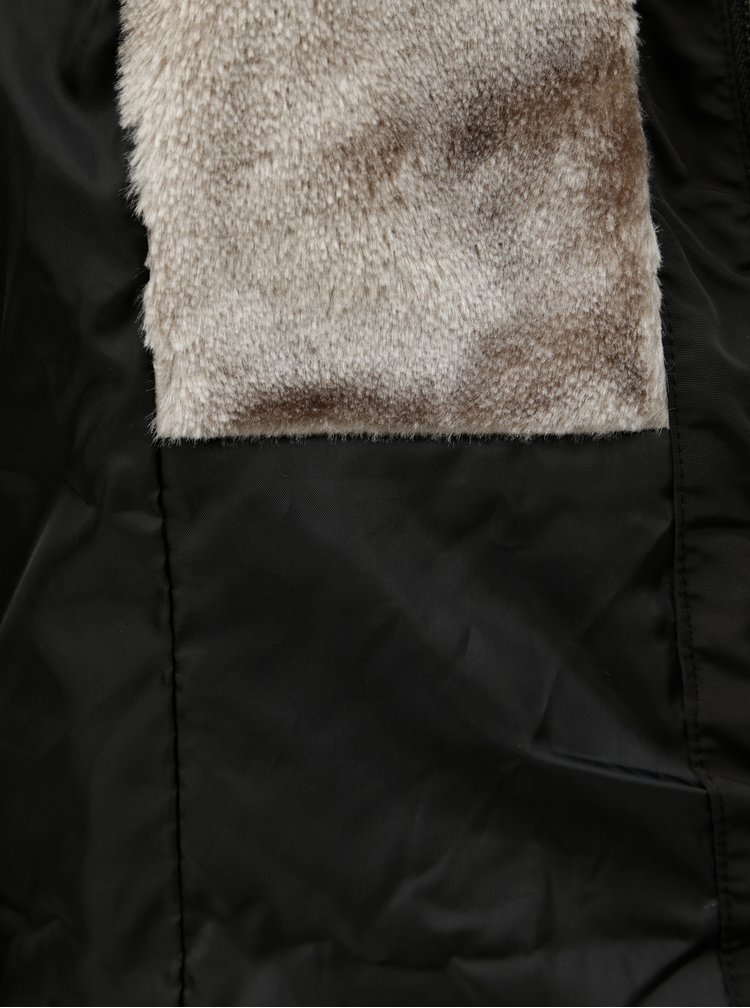 Čierna prešívaná zimná bunda s umelou kožušinkou ONLY Vigga