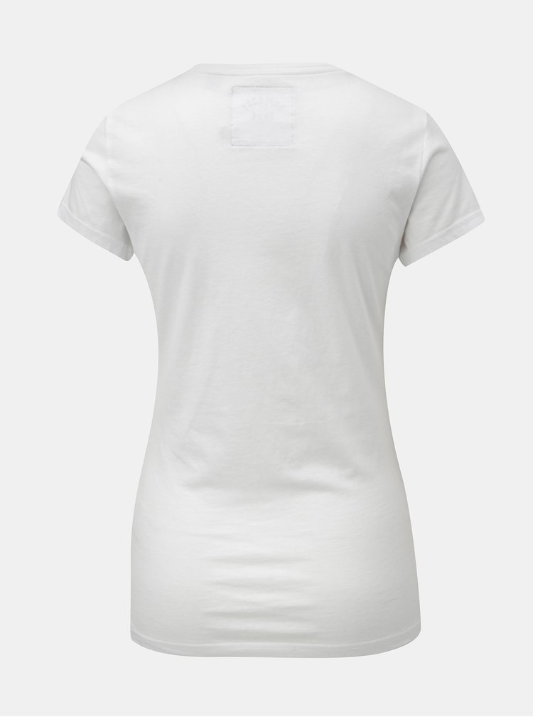 Tricou de dama alb cu motiv cusut Superdry Rope