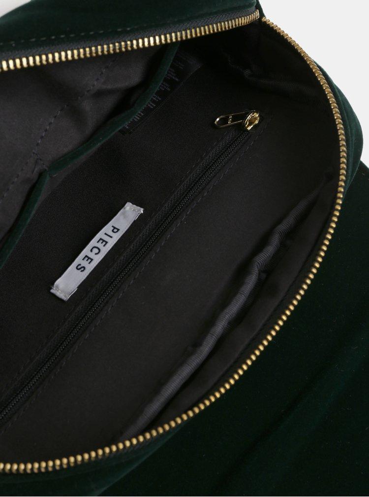 Tmavě zelená sametová prošívaná crossbody kabelka Pieces Koribella