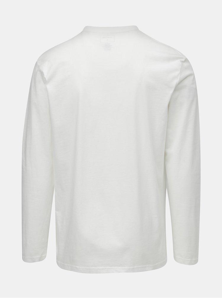 Bílé pánské regular fit tričko s dlouhým rukávem a potiskem Quiksilver Colon