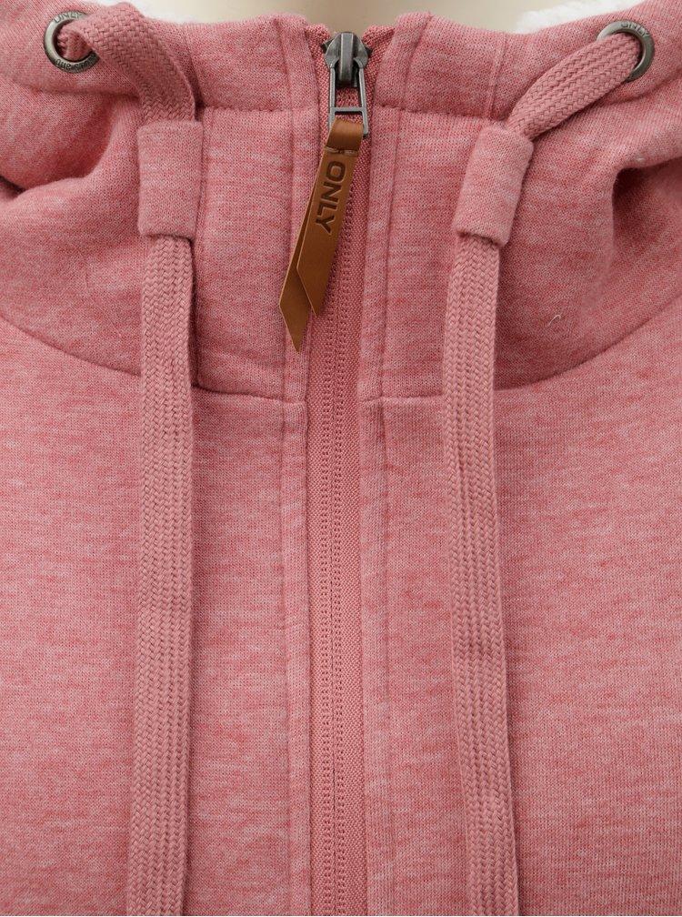 Růžová žíhaná mikina s umělým kožíškem ONLY Saga