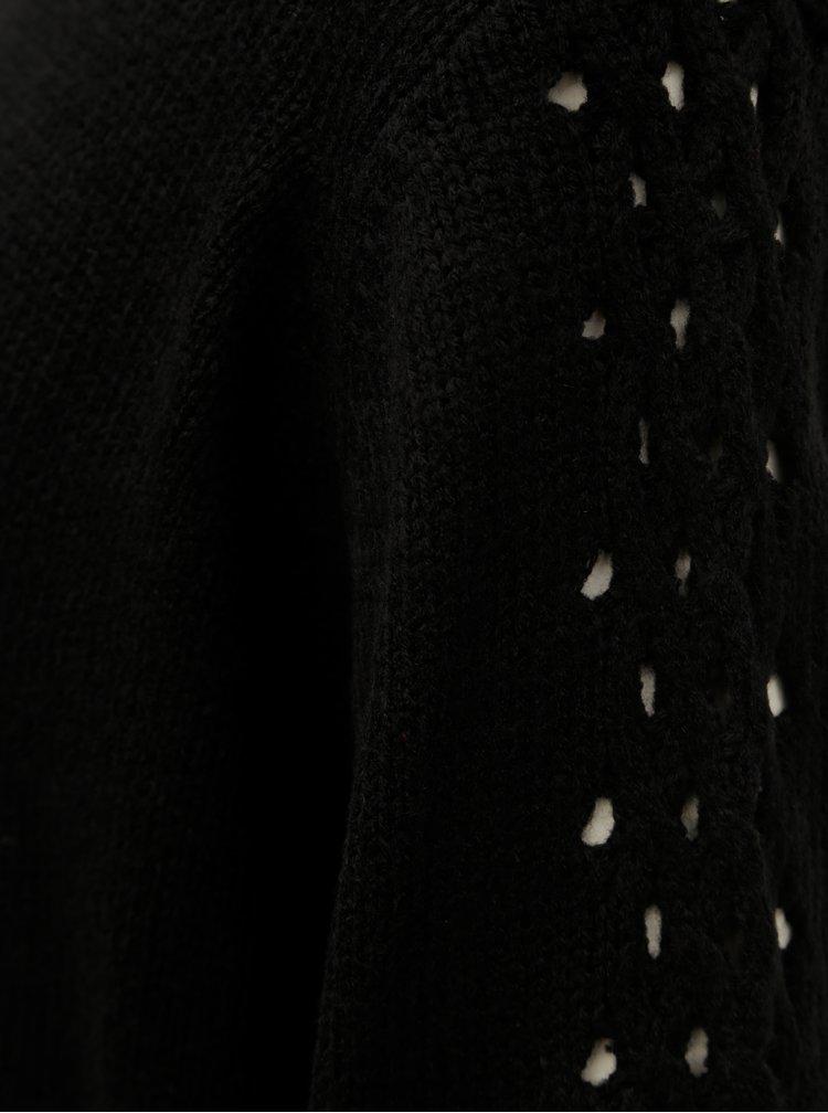 Pulover negru lejer cu guler inalt Jacqueline de Yong Linky