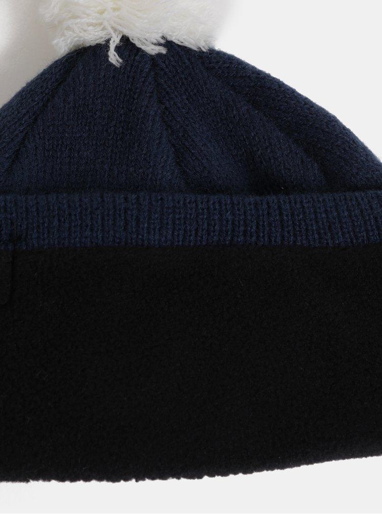 Tmavě modrá klučičí vzorovaná čepice s bambulí Quiksilver Barrow You