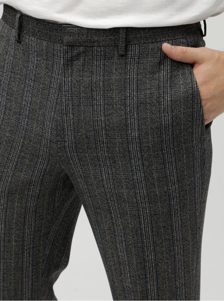 Sivé kockované oblekové nohavice Burton Menswear London Pow