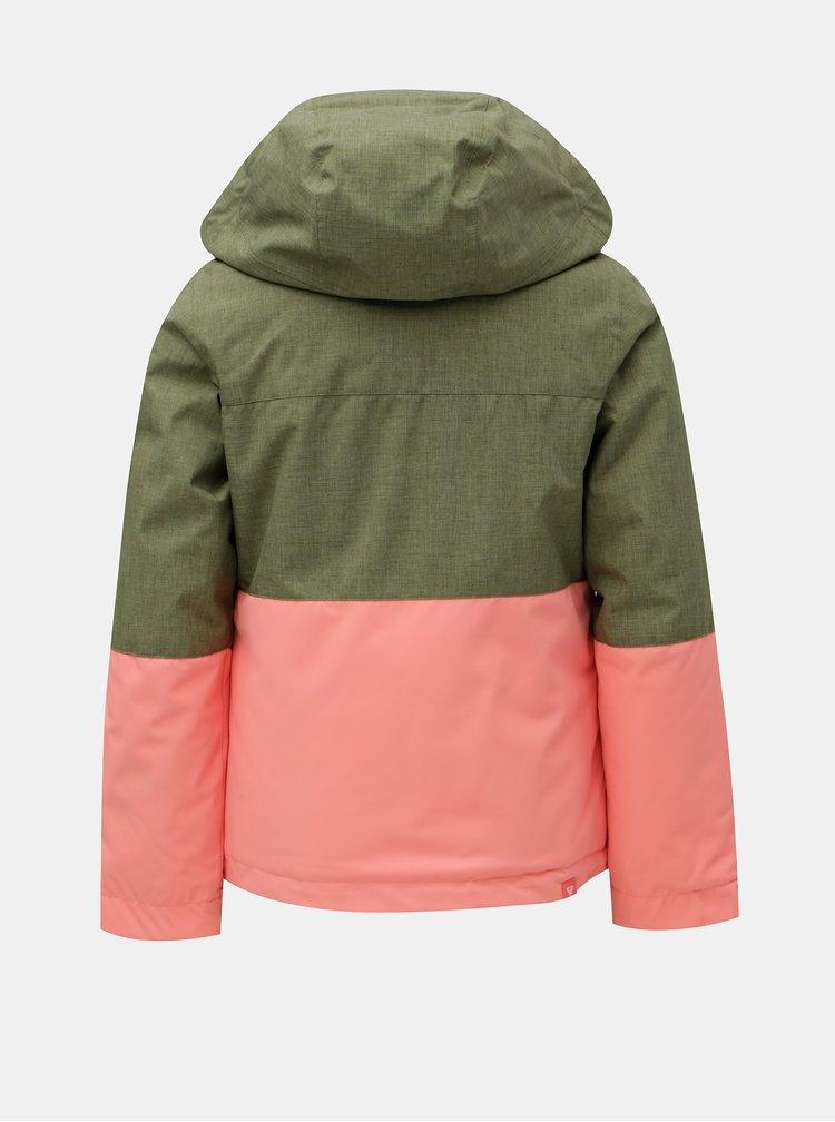 Růžovo-zelená holčičí lyžařská voděodolná zimní bunda Roxy Jetty