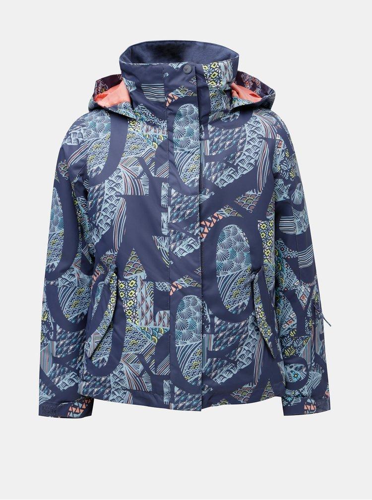 Modrá holčičí vzorovaná lyžařská voděodolná zimní bunda Roxy Jetty
