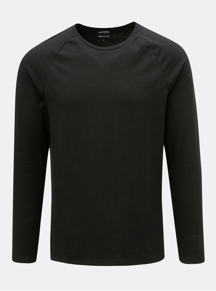 Tricou basic muscle fit negru cu maneci lungi Burton Menswear London