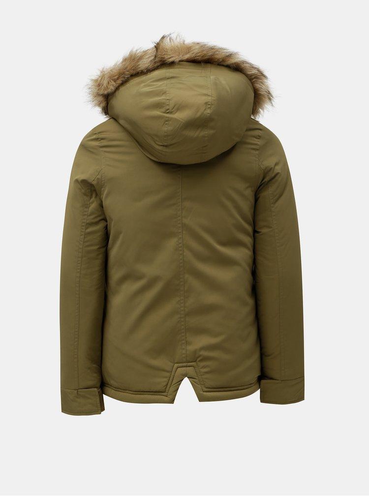 Khaki holčičí parka s kapucí s umělým kožíškem Roxy Feel