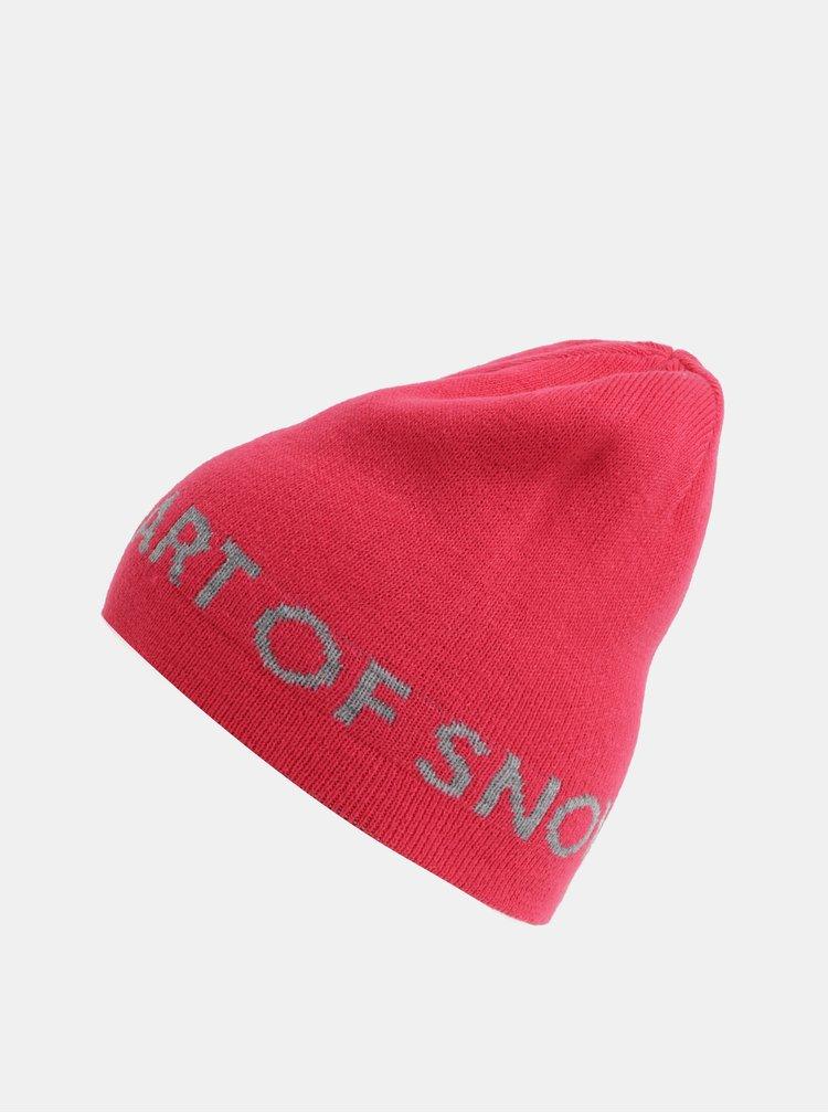 Caciula roz-gri reversibila de dama cu broderie Roxy Assam
