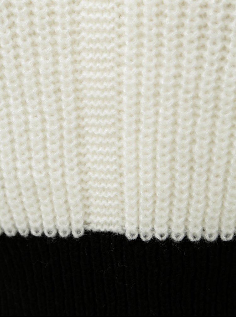 Černo-bílý krátký volný svetr se stojáčkem Miss Selfridge
