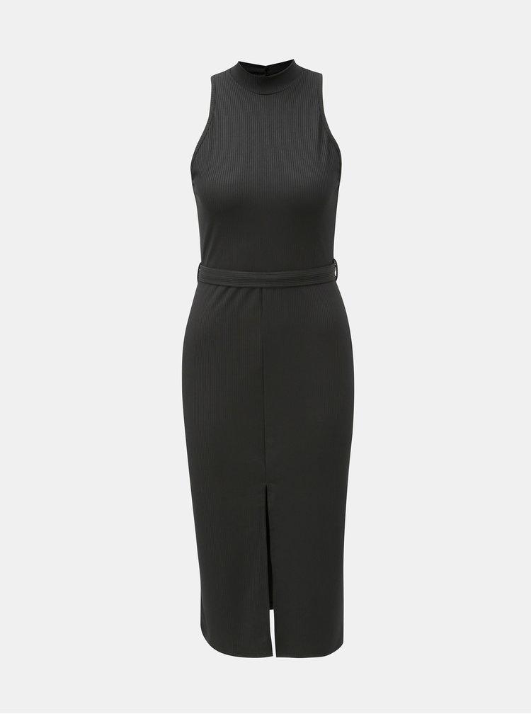Čierne puzdrové šaty s opaskom a rozparkom Miss Selfridge