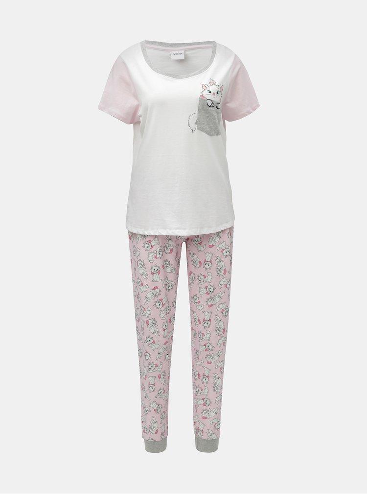 Pijama din 2 piese roz-alb cu motiv pisici Dorothy Perkins Disney